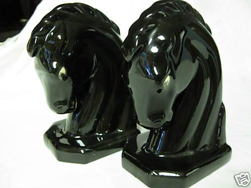 Vintage Pair of Horse Head book Ends Black Ceramic - eBay