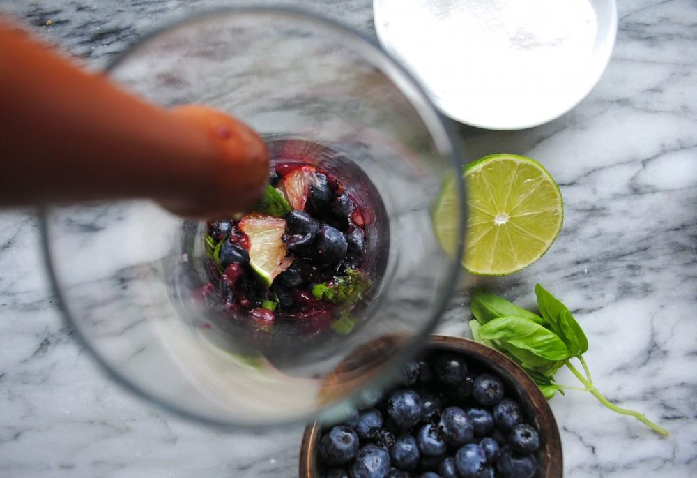 Blueberry Basil Smash Muddling