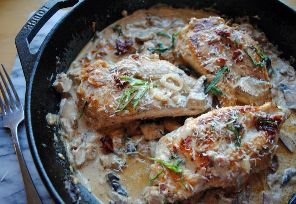 Cream Sun Dried Skillet Chicken