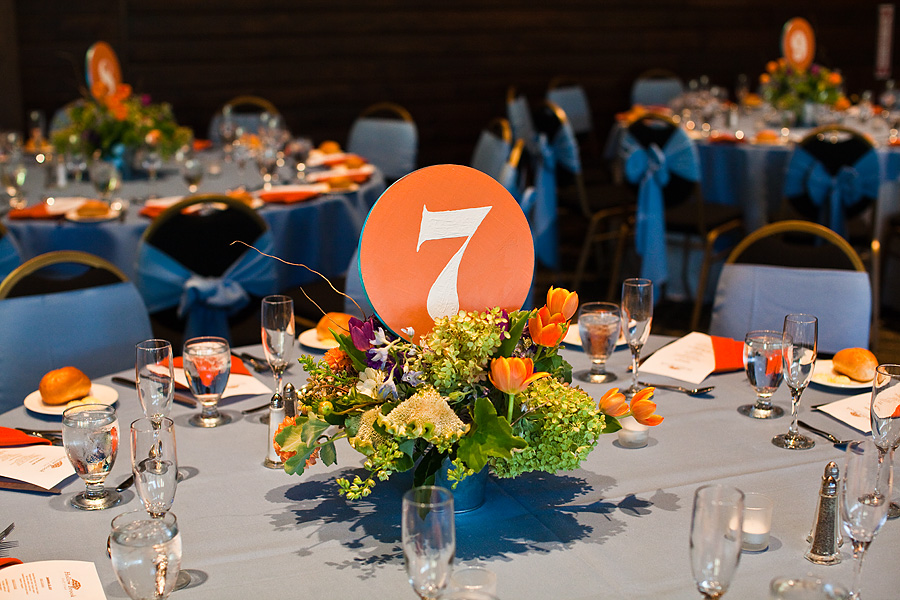 A Little Paint And Some Ribbon To Trim The Edges Make Table Numbers They Were Nice Pop Of Color Match Blue Orange Theme