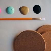 DIY Holidays: Painted Cork Coasters.