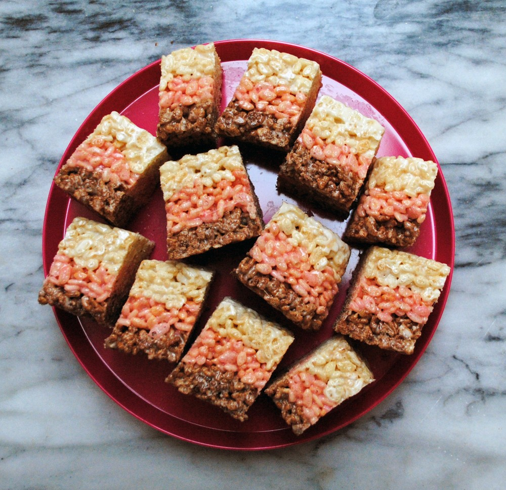 neapolitan rice krispy treats