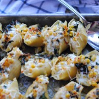 Sweet Corn and Rainbow Chard Stuffed Shells.