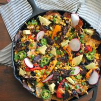 Grilled Steak Skillet Nachos.