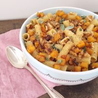Rigatoni with Butternut Squash, Walnuts and Sage.