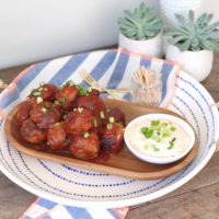 A Spicy Sriracha Meatball Appetizer.