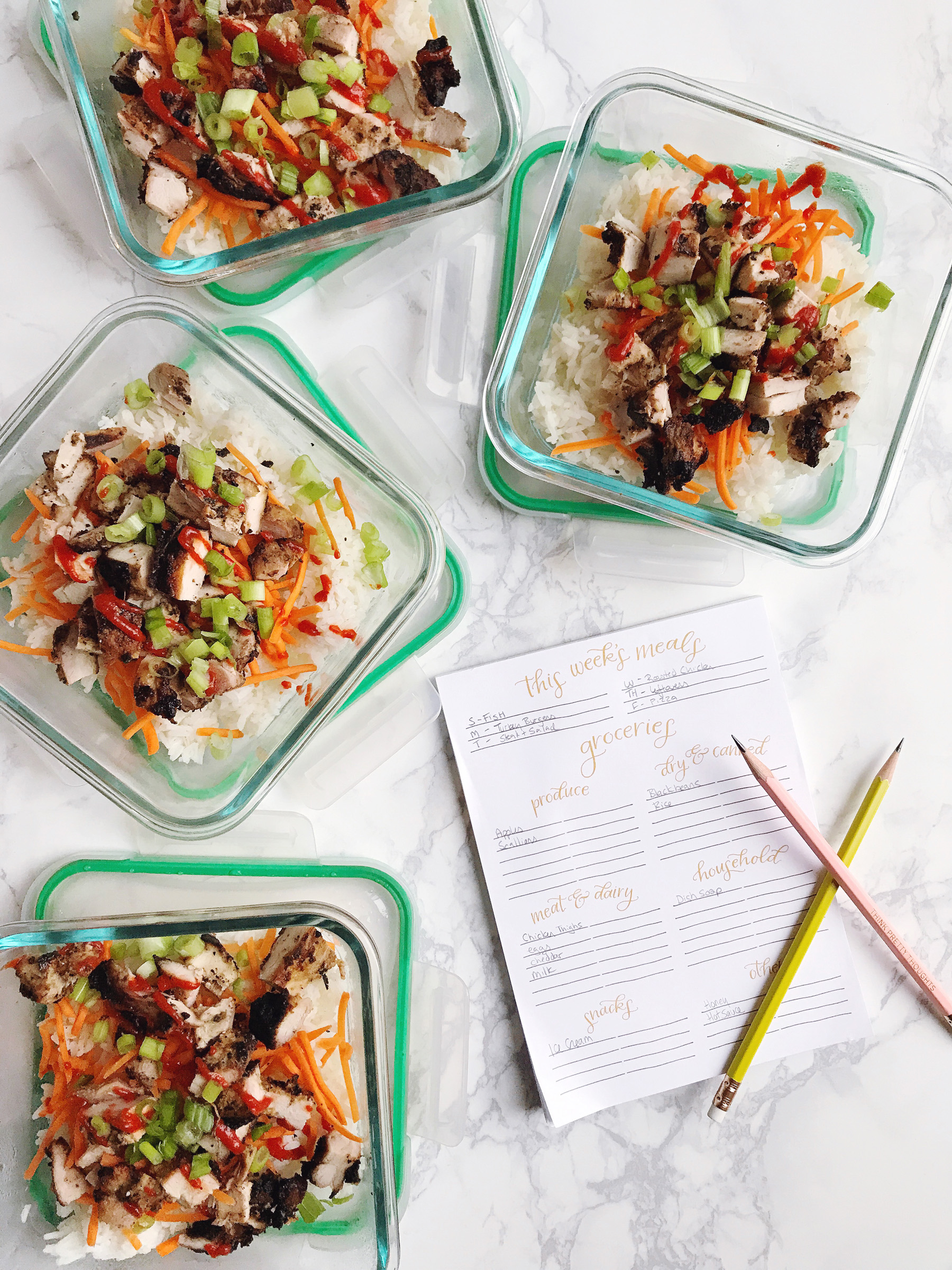 meal planning tips spicy chicken thigh rice bowls easy meal prep