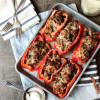 Sausage and Cauliflower Stuffed Peppers.