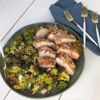 Soy Ginger Pork Tenderloin and Roasted Broccoli.