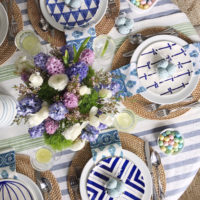 Blue and White Easter Tablescape.