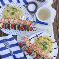 Garlic Basil Grilled Shrimp Skewers.