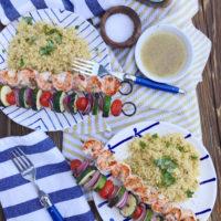 Garlic Basil Grilled Shrimp Skewers.