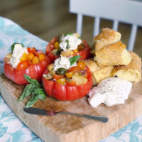 Burrata and Panzanella Stuffed Tomatoes.