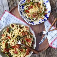 Crispy Prosciutto and Asparagus Bucatini.