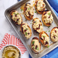 Sun-dried Tomato Chickpea Crostini.