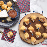 Turkey, Brie, and Apple Butter Biscuit Bites.
