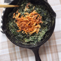 Crunchy Onion and Creamed Spinach Casserole.