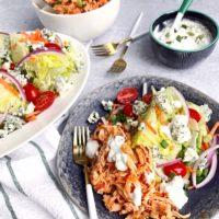 Instant Pot Buffalo Chicken Wedge Salads.