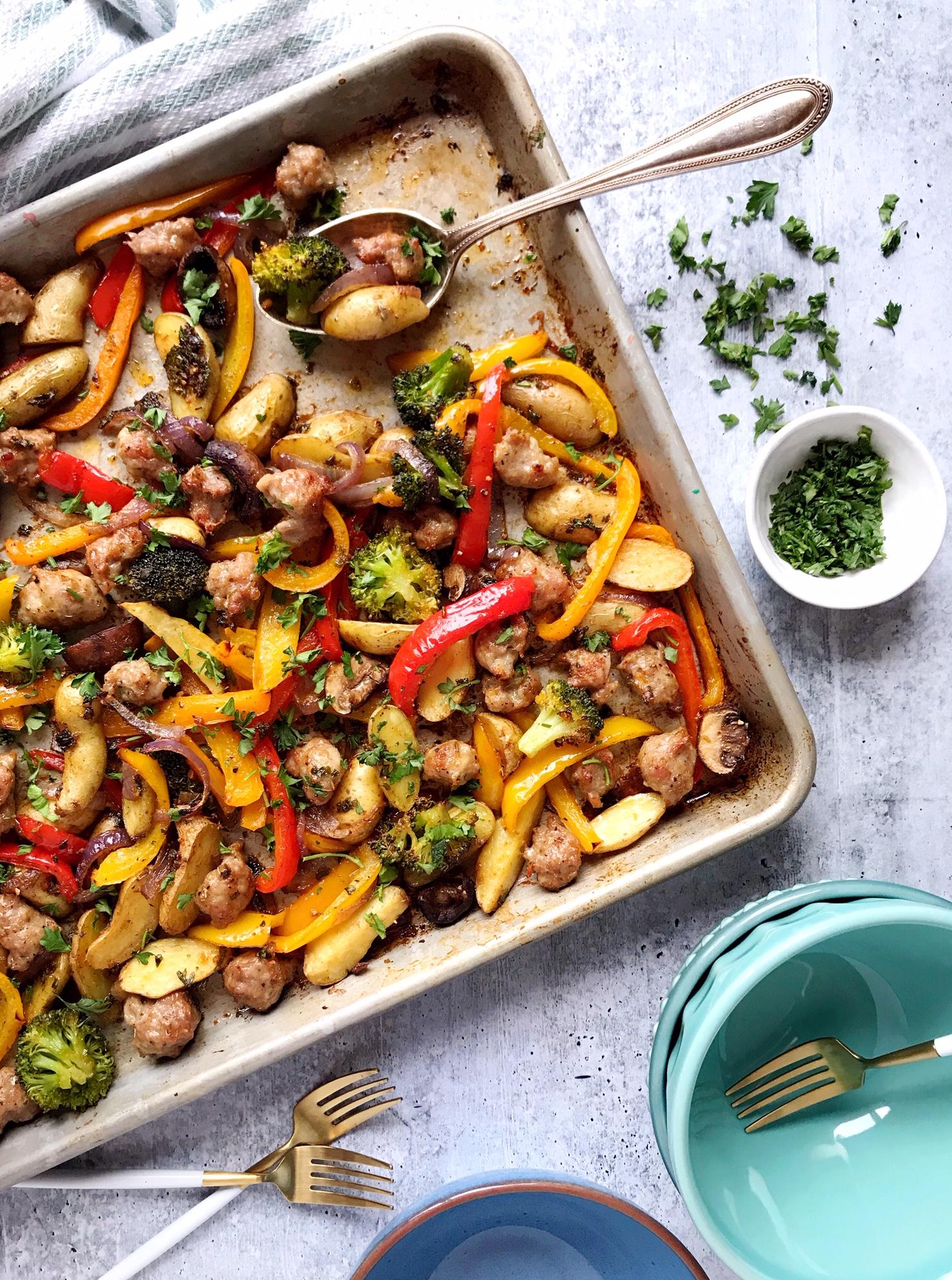 One Pan Italian Sausage And Roasted Vegetables Domestikatedlife