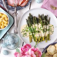 Roasted Asparagus and Creamy Dijon Sauce.