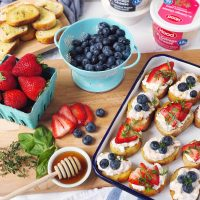 Berry and Cottage Cheese Crostini.
