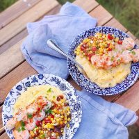 Grilled Garlic Shrimp, Corn and Polenta.