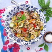 20-Minute Summer Veggies, Sausage, and Tortellini.