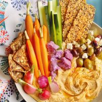 Roasted Garlic Hummus Mezze Platter.