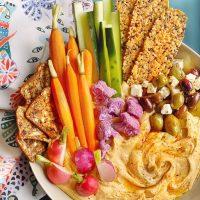 Roasted Garlic Hummus Mezze Platter.