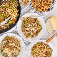 Spring Linguine with Asparagus, Leeks, and Walnuts.