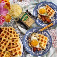 Savory Cheddar Waffle Breakfast Sandwiches.