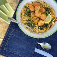 Seared Scallops with Spinach, Tomatoes and Corn + Cotton's Blue Jeans Go Green™ program