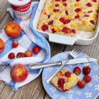 Strawberry Peach Sour Cream Cake.